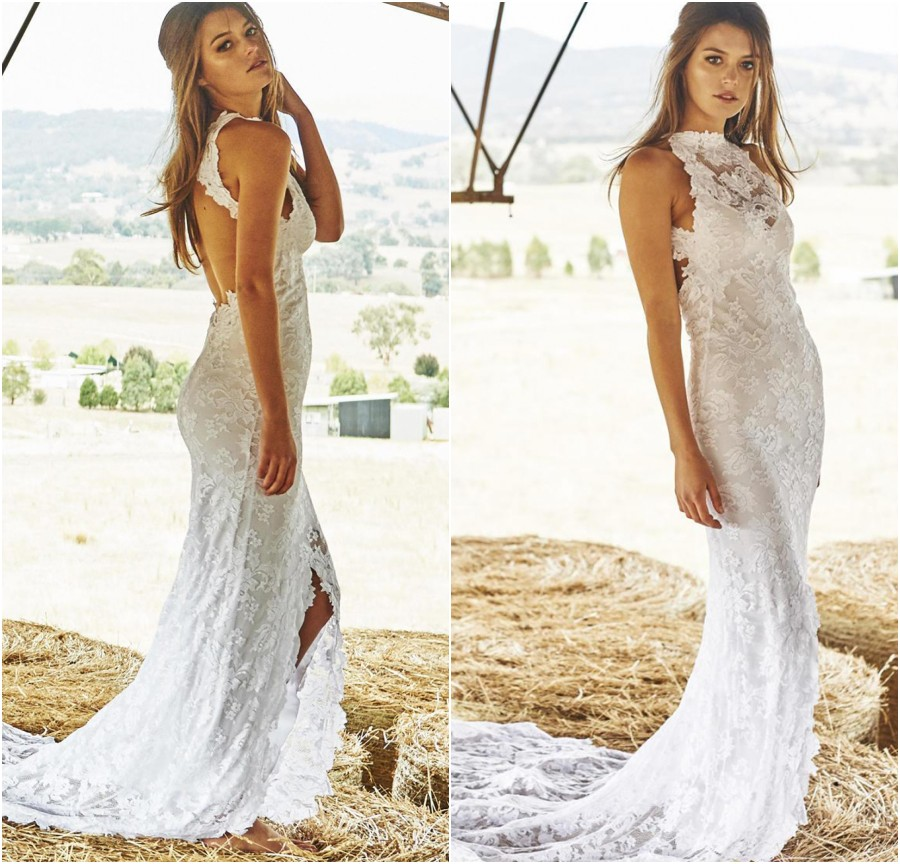 2015 boho lace bohemian wedding dresses front split beach for Lace beach wedding dresses